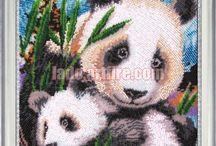 Bears and pandas Bead embroidery diy kits