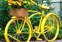 decorar jardim com bicicletas