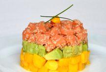Entrée recette / Tartare de saumon,avocat et mangue