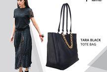 Tara black Chain Tote