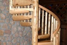 Rustic Log Spiral Staircases