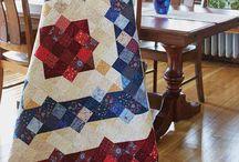 Patchwork med firkanter og trekanter