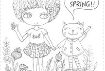 Little Curly's CUTE colouring pages / Original high quality colouring pages for you to print for kids
