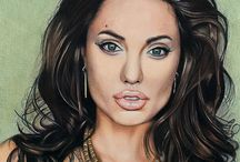Drawing color pencil - Angelina Jolie / format A2 - 42 x 60 cm (60 hours)