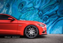 2015 Ford Mustang Fitted with 22 inch BD-3's in Graphite Machined Faced / Go to www.blaquediamond.com to see our complete range