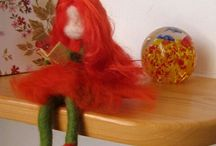 corn-rose girl, pipacs lány / Felted girl. With flexible arms and legs, long red hair.