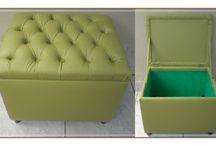 Puffs organizadores / Reformas de sofás e fabricações de puffs padrões e puffs organizadores para inovar e embelezar o seu ambiente.