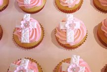 baptism cake and cupcakes