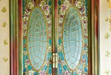 stained glass doors
