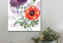 Scottish Thistle Duos / Canvas art prints, A1 and A2 www.splashartystory.com