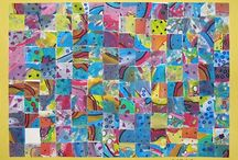 elementary art - collage and paper weaving