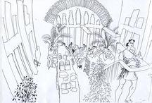 """Equip - Biblioteca Barceloneta-La Fraternitat / La mirada de Lawrenve Gundabuka, l'artista australià ha retratat l'equip de la biblioteca amb el seu bolígraf de punta fina. Un """"Who is who"""" amb les fotos dels dibuixos acolorits digitalment (els original són en blanc i negre)  Dibuixos  deferència de l'arquitecte, escultor, artista i veí del barri de la Barceloneta, Lawrence Gundabuka. Setembre 2014."""