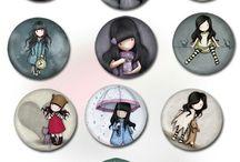 Digital Collage Sheets / DIY, Digital Collage Sheet, Schmuck, Jewelry making, Schmuckherstellung, Cabochon, Button, Badge, Bottle Cap