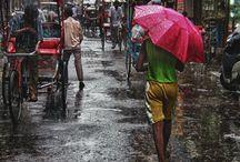 Under my Umbrella / It's raining, umbrella installations and parasols.