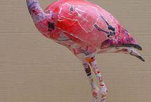 papier mache flamant rose