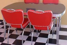 50s Style Diner Sets / Renovating your kitchen into an American Diner! Diner Booths, Diner Chairs, Diner Tables, Diner Stools!