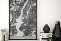 ~ City maps ~ Black and white distressed vintage maps