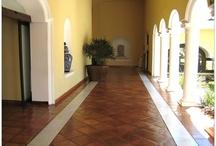 Terracotta tiled floor