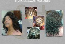 extensiones de cabello cosidas