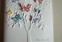 CARD MAKING. IDEAS. BUTTERFLYS AND HEARTS.