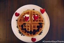 National Waffle Day / Tips and tricks on how to celebrate #NationalWaffleDay? Get creative with waffle decorating videos! #ComfortSaysThanks
