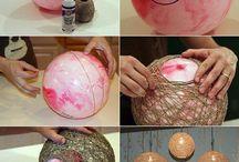 Manualidades / Lampara realizada con hilo y globo / by Gla Mazzone