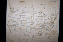 Puzzle géographique artisanal Carte USA anglais