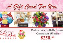 E Gift Cards = Excellent Idea!  / Leigh's Lovely GIft Baskets online store now offers E Commerce Gift Cards from $25-$250 .E cards can be used immediately following the receipt of a La Bella Baskets email issuing the 16 digit number and code. Send the E gift card via email, create a special template online, or print and send in a greeting card. Cards expire six months from purchase date.