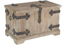 WOOD AND METAL CHEST