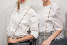 CAPELLI GRIGI / COLLECTION OF LEATHER BAGS AND SHIRTS WITH LACE