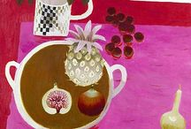 Y07 Food - Mary Fedden / Choose one of the pictures and make a copy of it on half of a page of your sketchbook. Add the name of the artist and a short description of the picture.
