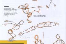 Ihminen / Ihmisen malleja ja eri ruumiinosia piirrettynä