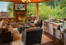 """Outdoor Living Rooms / We love to create outdoor living areas. This is 2015 - people need a place to go and get the """"everyday angst"""" outta their  everyday lives - Why not thru the backdoor and into their landscapes? So cozy, these house-matching living rooms let you co-habitat with the outdoor environment! We know you will love 'em!"""