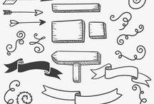 Coisas de desenho e letras