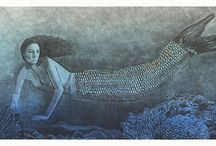 Lithographs / A limited edition lithograph I created when I was inspired by the mystery of mermaids. I created two variations on this theme.