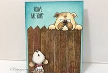 Card dog howl stamp