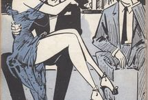 """Good Girl Art / Definition: """"A cover illustration depicting an attractive young woman, usually in skimpy or form-fitting clothing, and designed for erotic stimulation. The term does not apply to the morality of the """"good girl"""", who is often a gun moll, tough cookie or wicked temptress."""" From: Richard Lupoff (2001), The Great American Paperback. All the pin are from my collection of the italian magazine Bazar, many illustrations are from the great cartoonist Bill Ward."""