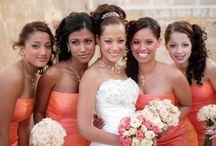 Orange wedding themes / ORange wedding theme inspriation ideas from http://www.designerchaircoverstogo.com