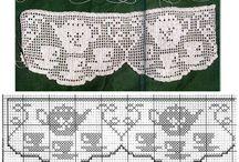 Gehaakte gordijnen en( kast)randjes/ crocheted curtains and edges