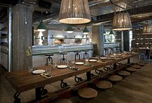 Raw eateries / Enduring restaurant trend: a warm mix of raw materials, industrial feel, whimsical touches / by Sketchgirl & Co.