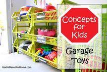 Garage / Garage organization for outdoor kids toys and storage. / by Nikki Currier