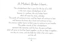 A Mother's Broken Heart Beats / There are some things only a mother who has lost a child can comprehend...it helps to know there are others who do understand...and care.  God Bless.