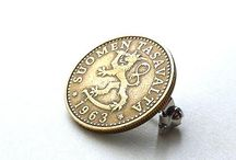 Coin pins and brooches
