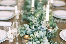 Centro de mesa con eucalipto