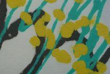 Handgeschöpfte Papiere * Handmade Papers / entstanden durch Schöpfen von pflanzlichem Faserbrei und Mustern mit farbiger Pulpe