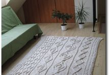 Large carpet or a bed spread / carpet or a spread knitted with Aran motives