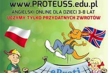 Wskocz na www.proteuss.edu.pl / Angielski dla dzieci 3-8 lat online. Tylko przydatne zwroty dla Twojego dziecka. Dużo dobrej zabawy! Sprawdź teraz