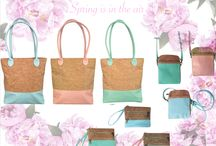 Spring and leather Cork / Our #fabulous Spring cork and leather bags are new and improved with an interior pocket, longer handle and same cork body that we all know and love!