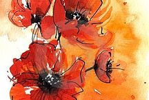 Poppies / This is an inspiration board for my Pattern Camp class assignment to create a repeating pattern of poppy illustrations.