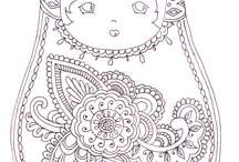 coloring russian dolls